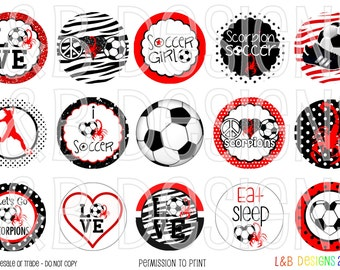 "1"" Bottle Cap Image Sheet - Scorpions Soccer"