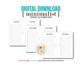 Printable Planner Pages . Minimalist To Do To Buy To Read Instant Download Note Paper Planning Lists List Websters Filofax Kikki K Franklin