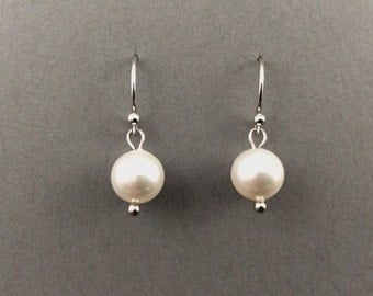 Pearl Earrings Bridal Pearl Earrings With 8mm Round Swarovski Crystal Pearls
