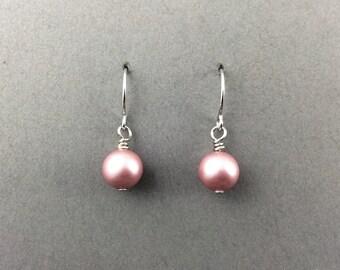 Pearl Earrings With Powder Rose Swarovski Crystal Pearls
