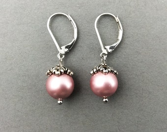 Pearl Earrings In Silver With Powder Rose Swarovski Crystal Pearls And Leafy Beadcaps