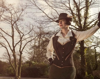 Steampunk Tweed corset. Recycled tweed. Couture / costume/ Doctor Who. UK 8-10
