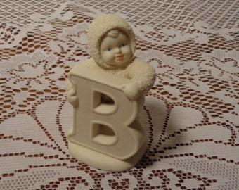 Vintage Snowbabies - Dept. 56 Snowbabies Figurine- B is for Baby  - 14-0480