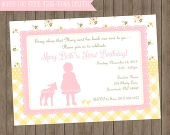 Mary Had a Little Lamb Invitation - Printable