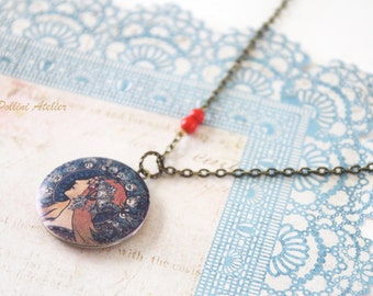 Alphonse Mucha Women Locket Necklace. Vintage Style Locket Necklace. Photo Locket Necklace. Gift For Her (LN-10)