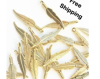 Set of 20 Gold Feather Charms
