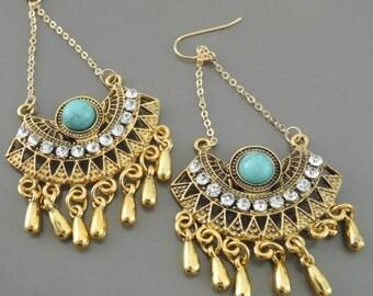 Tassel Statement Earrings - Turquoise Tribal Earrings - Festival Crystal Earrings - Boho Gold Crystal Earrings - Upcycle Handmade Earrings