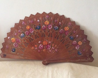Regency/Victorian Style Fan. Brise. Brown with Flowers. Hand Painted Wood