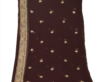 Vintage Shawl/Stole. Regency Style.  Dark Brown Chiffon, gilt embroidery.