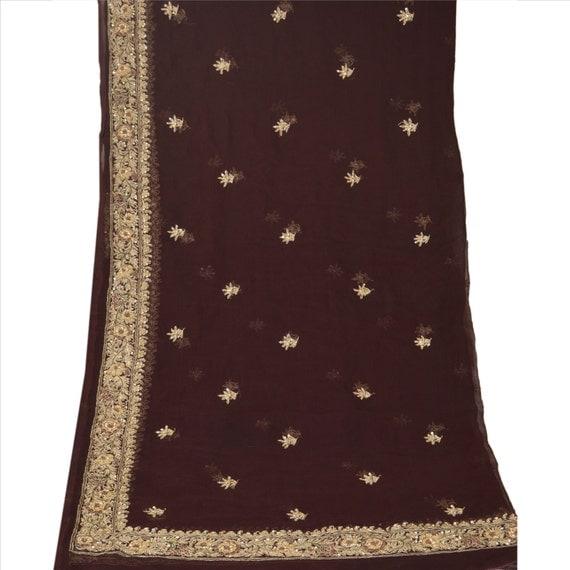 Vintage Shawl/Stole. Regency Style.  Dark Brown Chiffon, gilt embroidery.