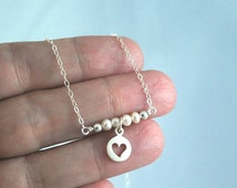 Bar necklace with Freshwater pearls + Heart. Pretty delicate layering necklace Love heart necklace Meaningful gift silver + pearls love gift