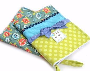 READY to SHIP! Kitchen Dish Tea Towels- Set of 2 in Denyse Schmidt, Turquoise, Green, Floral