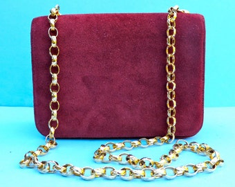 Vintage 1980's/Burgundy Suede Purse with Gold Chain Shoulder Strap/Maroon Suede Purse/Gold Chain Shoulder Strap