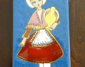 Vintage Decorative Pottery Tile Wall Hanging - Girl Holding Water Jug - Hand Decorated & Artist Signed