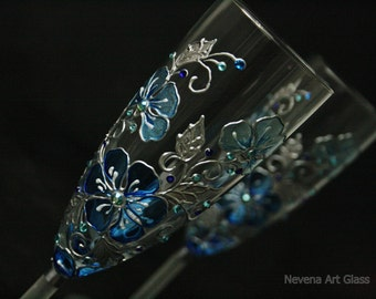 Blue Wedding Glasses, Champagne Glasses, Champagne Flutes, Hand Painted, Set of 2