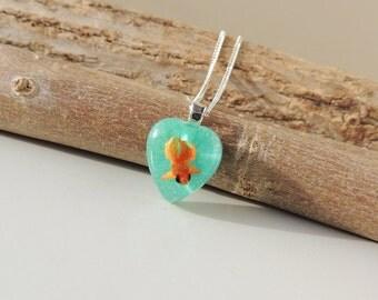 Goldfish Necklace, Swimming Orange Fish in Blue Resin Heart Pendant, Resin Jewelry, Fish Jewelry, Whimsical Jewelry, Diorama, UK, 2077