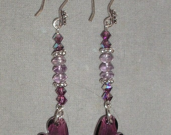 Deep Purple Swarovski Side Drilled Heart and Amethyst Dangle Earrings