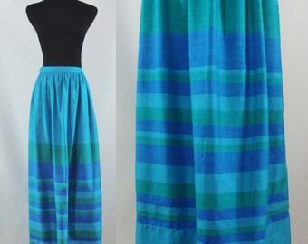 SALE Vintage Sixties Skirt - 1960s Blue Silk Maxi Skirt - 60s Striped Silk Long Skirt - Small Vintage Maxi Skirt