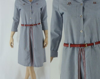 Vintage Seventies Dress -  1970s Blue Pinstripe Dress - 70s Shirtwaist Dress with Belt - Medium