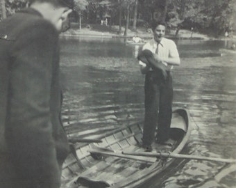 1940's Photograph - Two Men & A Boat