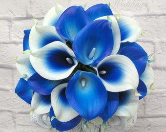 Royal blue picasso calla lily Wedding bouquet Bridal bouquet Real touch calla lilies