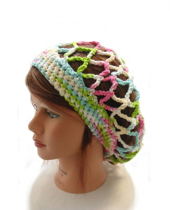 Ombre Mesh Tam, Mesh Summer Hat, Ombre Snood, Summer Tam Hat, Open Stitch Hat, Hair Snood, Beach Hat, Slouchy Rainbow Tam, Rainbow Snood