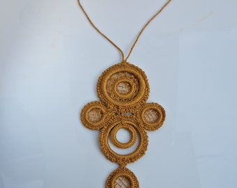 Vintage Pendant 1970's Gold Crochet Large Necklace Fiber Arts