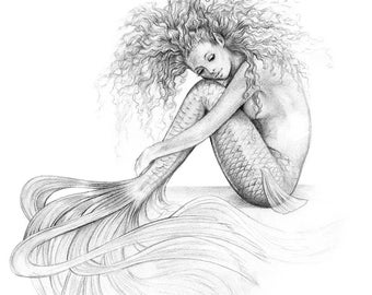 8x10 inch PRINT Tranquil Mermaid Art Graphite Pencil Drawing Black and White Tattoo Coastal Home Beach House Decor Signed