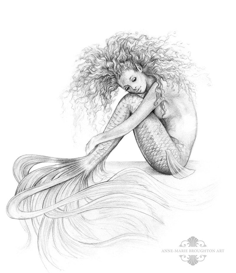 8x10 Inch Signed Tranquil Mermaid Art Print Graphite Pencil