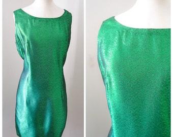 1960s Emerald green lamé fitted shift dress / 60s metallic party dress - L XL