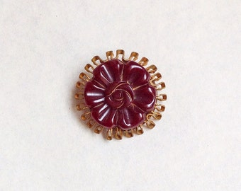 1930s Cherry bakelite & brass brooch / 30s book piece carved catalin pin