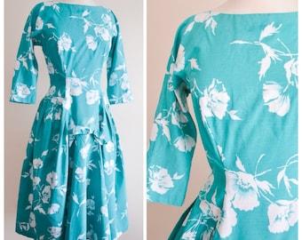 1950s Aqua green floral print cotton day dress / 50s drop waist full skirt California Cottons dress - S