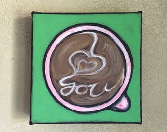 "Latte Art • Original ""I Love You Latte"" Art 6"" x 6"" Acrylic Painting • Gallery Wrapped Canvas Painting • Coffee Lover"