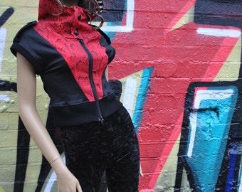 Cropped Red Snakeskin Panel Biker Style Bomber Jacket Cap Sleeve High Neck Hood Stripy Lining Steampunk Burlesque Festival Futuristic Sci-fi