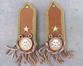 Leather Epaulettes Steampunk Cosplay LARP Military Pirate Halloween Costume Brown