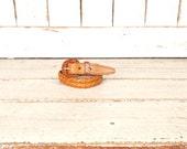 Vintage brown Southwestern style woven leather belt/double braided leather boho festival belt/small/medium