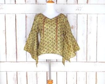 Vintage yellow/gold/red silk tribal Indian print bell sleeve blouse/Indian sheer silk angel sleeve top/boho hippie shirt