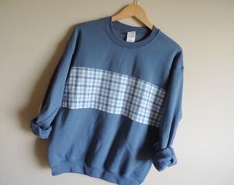 New Blue Plaid Flannel Stripe Crewneck Sweatshirt // Sizes SMALL - 2XL