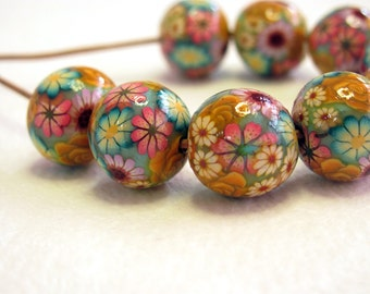 Fall Beads. Handmade floral beads. Polymer clay beads. Millefiori beads. floral beads. Rose beads. Round small beads. Autumn