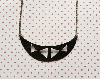Minimalistic half moon inner tube necklace made of a Dutch bicycle tube rubber recycling eco friendly gift - free shipping