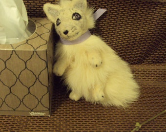 arctic fox pup soft sculpture plush one of a kind tail critter YEPA