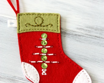 Handsewn Wool Felt Mini Stocking - Christmas - Monogrammable - Gift Card Holder - Pet Stocking - Baby Stocking - Holiday Ornament