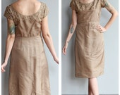 1950s Dress // Pearls & Champagne Dress // vintage 50s dress