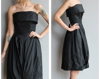 1950s Dress // Strapless Suzy Perette Party Dress // vintage 50s silk dress