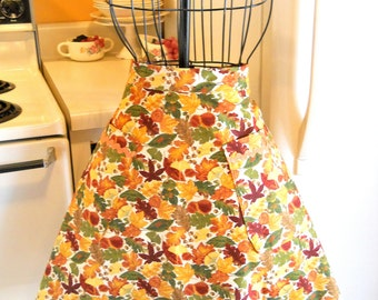 Women's Thanksgiving Half Apron with Fall Leaves