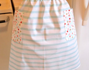 Retro Style Half Apron in Stripes and Polka Dots