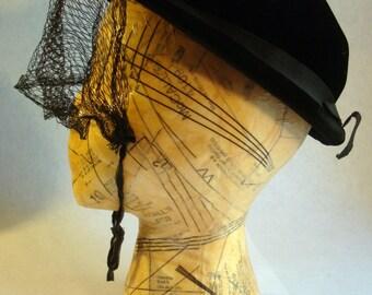Antique Vintage Black Velvet Woman's Hat with Adjustable Veil