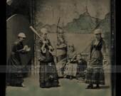 Amazing Original Tintype Photo - Late-1800s Girls' Baseball Team