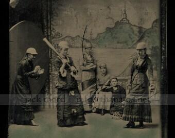 RESERVED / Do Not Buy // Amazing Original Tintype Photo - Late-1800s Girls' Baseball Team