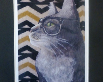 Gray Tabby Cat Art- Cat in Vintage Glasses Artwork